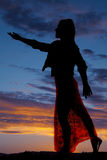 Silhouette woman lacy dress reach out Royalty Free Stock Photography