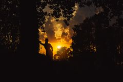 Silhouette of a woman leaning against big tree. Yellow sunset illuminating sky behind her Royalty Free Stock Photography