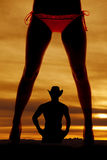 Silhouette woman legs bikini front. A silhouette of a womans legs in a bikini with a cowboy in the back stock images