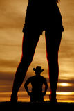 Silhouette woman legs front with man royalty free stock photos