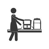 Silhouette woman with luggage conveyor belt Royalty Free Stock Photography