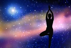 Silhouette of woman making yoga over space Royalty Free Stock Image