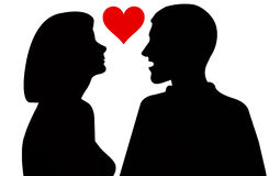 Silhouette of woman and man Royalty Free Stock Images