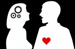 Silhouette of woman and man Royalty Free Stock Photography
