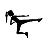 Silhouette woman martial arts flying kick. Vector illustration Royalty Free Stock Photo