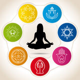 Silhouette of woman in meditation position surrounded by seven colored circles with icons of yoga and reiki. Vector image Royalty Free Stock Photos