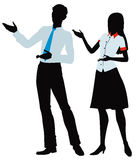 Silhouette of  woman and men presenting. Vector illustration silhouette of  woman and men gesturing to the left Royalty Free Stock Photos