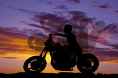 Silhouette woman motorcycle ride side Royalty Free Stock Photos