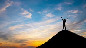 Free Silhouette Woman On Top Hill In Sunet Royalty Free Stock Photo - 156565875
