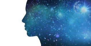 Silhouette of woman over blue space background Stock Photos