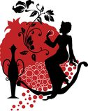 Silhouette of woman with a pomegranate Royalty Free Stock Photo