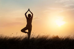 Silhouette of woman practicing yoga on the nature at sunset Royalty Free Stock Image