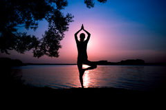 Silhouette woman practicing yoga Royalty Free Stock Image