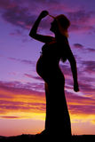 Silhouette woman pregnant touch hat side one hand back stock image