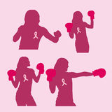 Silhouette woman prevention breast cancer Royalty Free Stock Photography