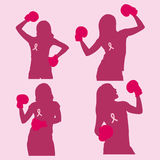 Silhouette woman  prevention breast cancer Stock Photography