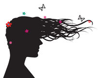 Silhouette of woman in profile Royalty Free Stock Photography
