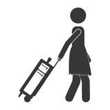 Silhouette of woman profile with suitcases Royalty Free Stock Photo