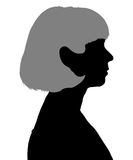 Silhouette of a woman in profile stock illustration