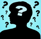 Silhouette of woman with question mark Royalty Free Stock Image