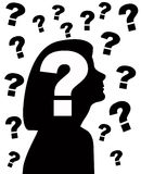Silhouette of woman with question marks Stock Photos