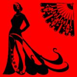 Silhouette of a woman on a red background Stock Images