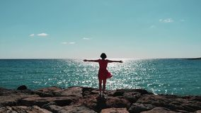 Silhouette of woman in red dress with arms apart in air standing on rocky beach pier against sun with wind flapping her dress . Gi stock video footage