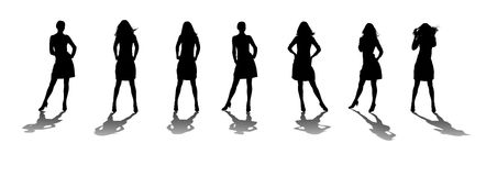 Silhouette of the woman with reflection. Various poses. Uncurl hair. It is isolated on a white background Royalty Free Stock Photo