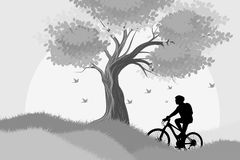 Silhouette woman ride bicycle scene. Vector nature landscape background royalty free illustration