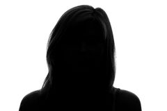 Silhouette of a woman's face  Stock Photography