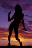 Silhouette woman in sheer dress hold skirt Royalty Free Stock Photos