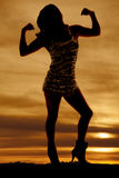 Silhouette woman shiny dress flex Royalty Free Stock Photos