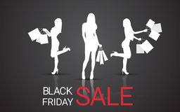 Silhouette Woman With Shopping Bag Black Friday Big Sale Banner Royalty Free Stock Photography