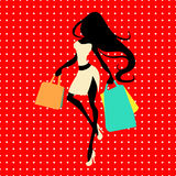 Silhouette woman with shopping bag on a red background with polka dots  Stock Photos