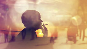 Silhouette of a Woman Smoking Cigarette in Sunset, Thinking About the Past Times stock footage