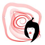 Silhouette woman with spiral on white background Royalty Free Stock Image
