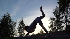 Silhouette of woman with sporty flexible body performing Three-Legged Downward-Facing Dog pose
