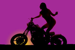 Silhouette woman stand on motorcycle land back look forward Stock Image