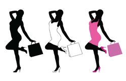 Silhouette of woman standing with shopping bag. Silhouette of woman standing in position of joy and happiness holding shopping bag in her hand Stock Images
