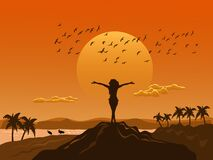 Free Silhouette Woman Stood Up And Showed His Hands On The Top Of The Mountain Happily.  Sea, Mountains,birds And Sunset Background Stock Image - 181932151