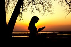 Silhouette of a woman studing the Bible in nature at sunset, concept religion and spirituality. Silhouette of a young woman studing the Bible in nature, girl Stock Photo