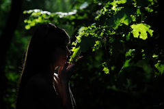 Silhouette of a woman in the summer garden Stock Photography