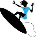 Silhouette of a woman surfing Royalty Free Stock Photos