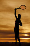 Silhouette woman tennis racquet swing Royalty Free Stock Images