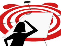 Silhouette woman thinking blank white sheet hit the target within deadline. Silhouette of woman thinking in front of blank white sheet to hit the target within Royalty Free Stock Images