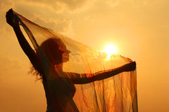 Silhouette of woman with transparent cloth Stock Photo