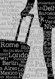 Silhouette of woman with travel bag. And cities' names background Stock Image