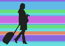 Silhouette Woman Traveler with Baggage and Ticket on Colorful Background. Illustration of a woman traveler or flight steward stock illustration