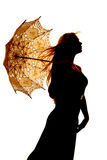 Silhouette woman umbrella hair blow close Royalty Free Stock Photo