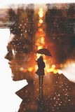 Silhouette woman with umbrella in night city against a man head. Double exposure showing silhouette woman with umbrella in night city against a man head Royalty Free Stock Images
